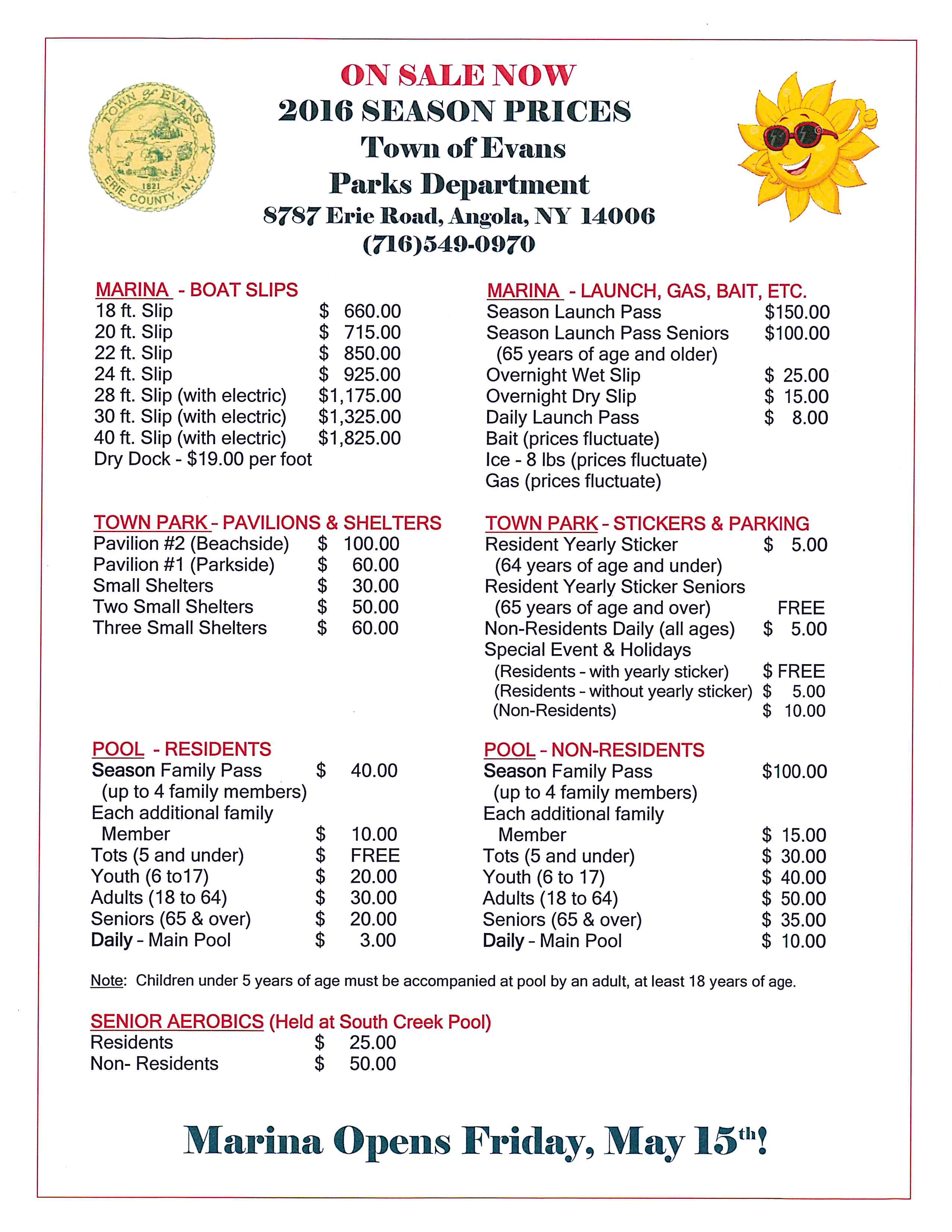 2016 Park Pool Marina Fees