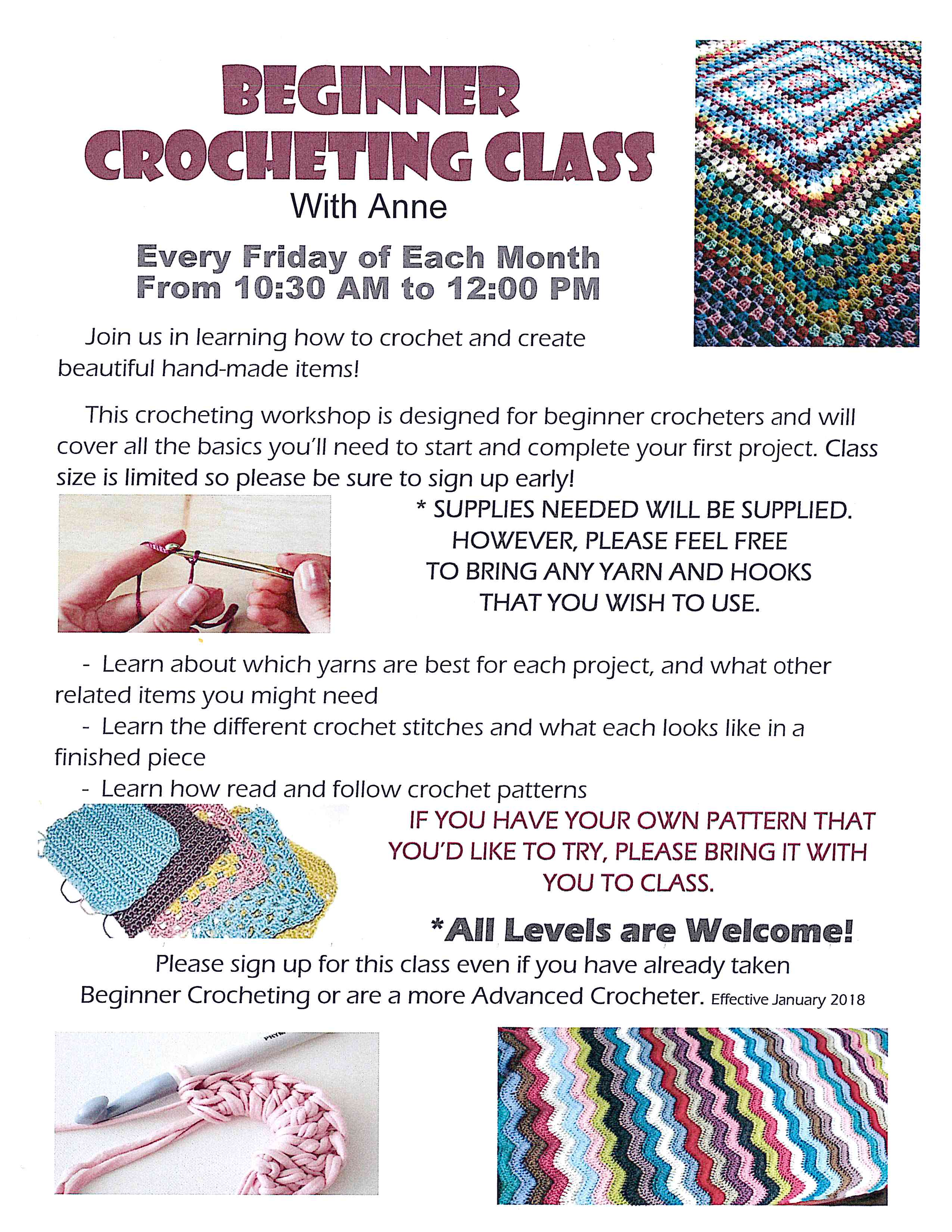 2018 09 Beginner Crocheting Class