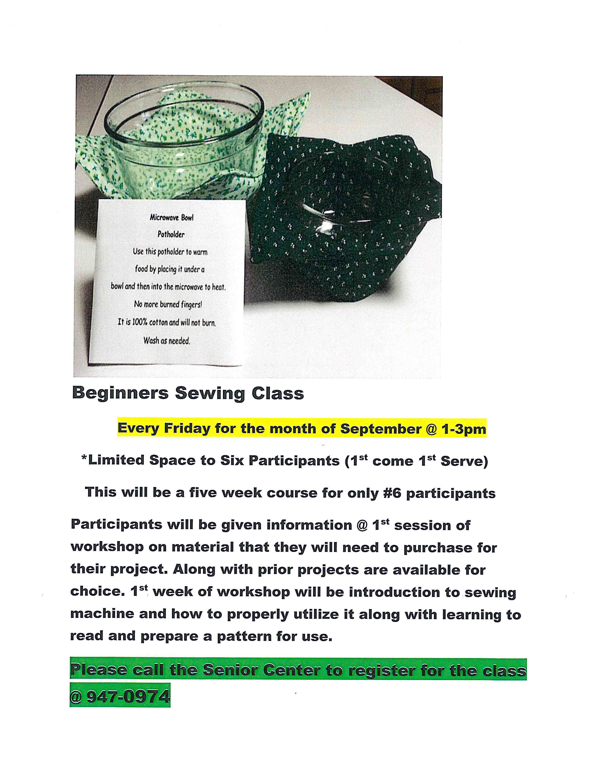 2018 09 Beginner Sewing Class