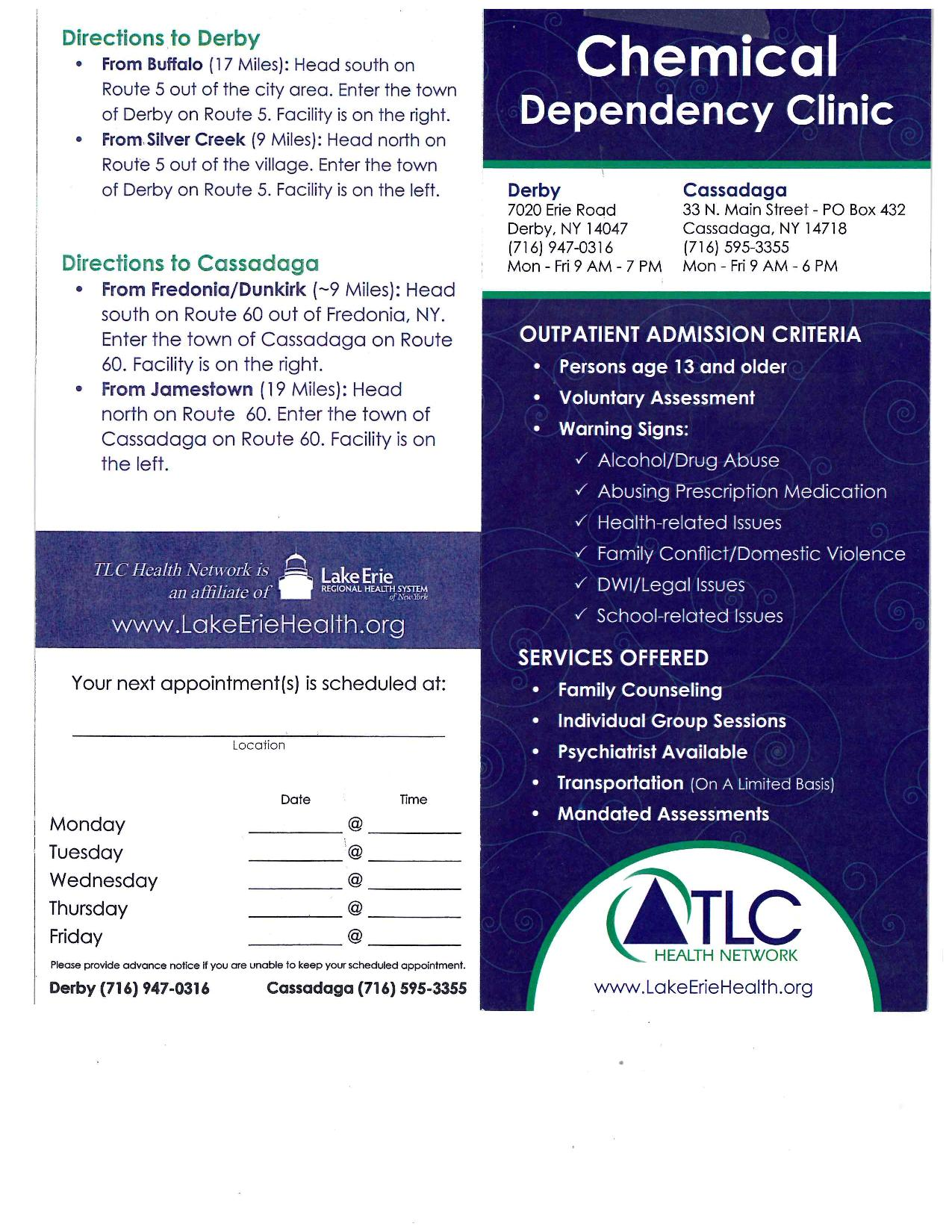 Chemical Dependency Clinic page 001