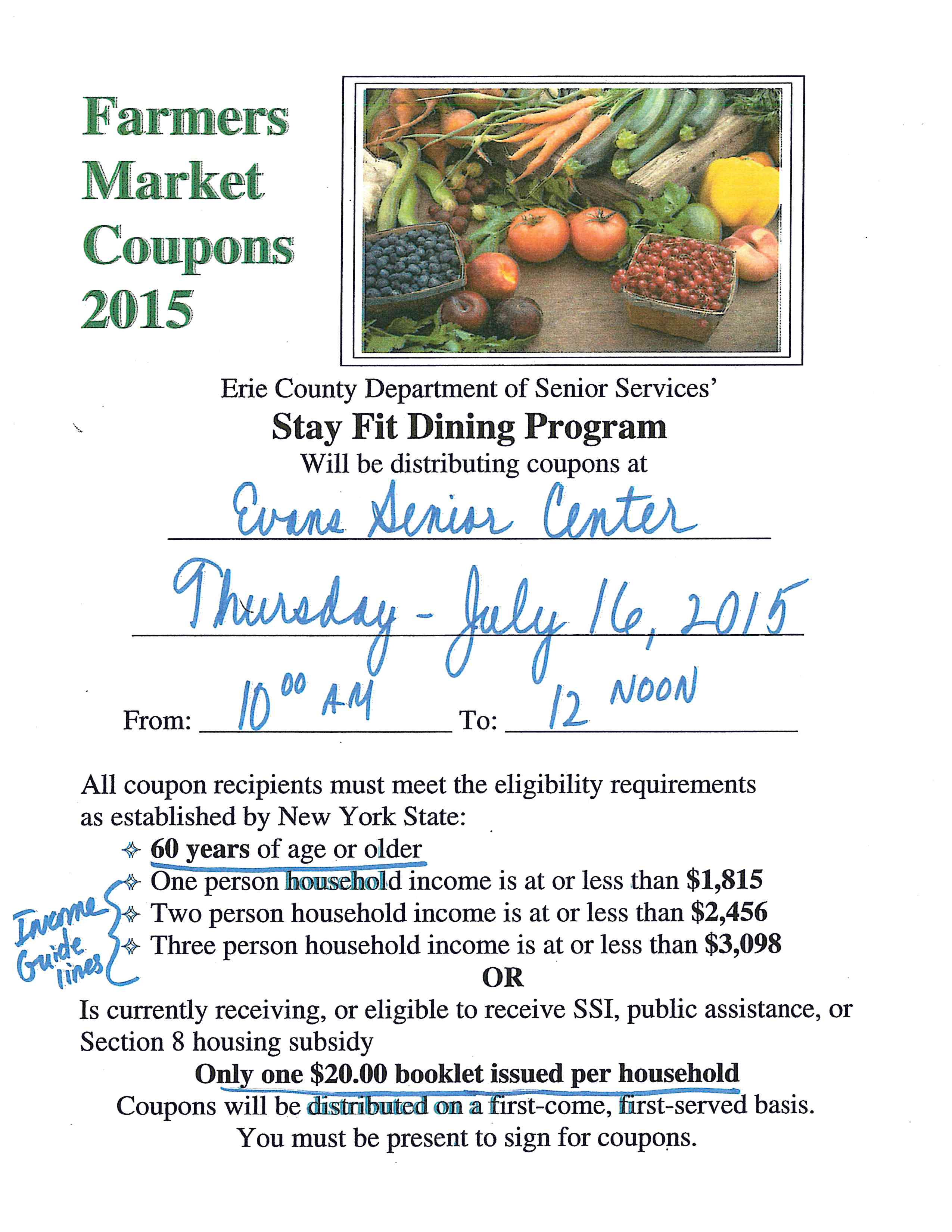 Farmers Market Coupons 2015