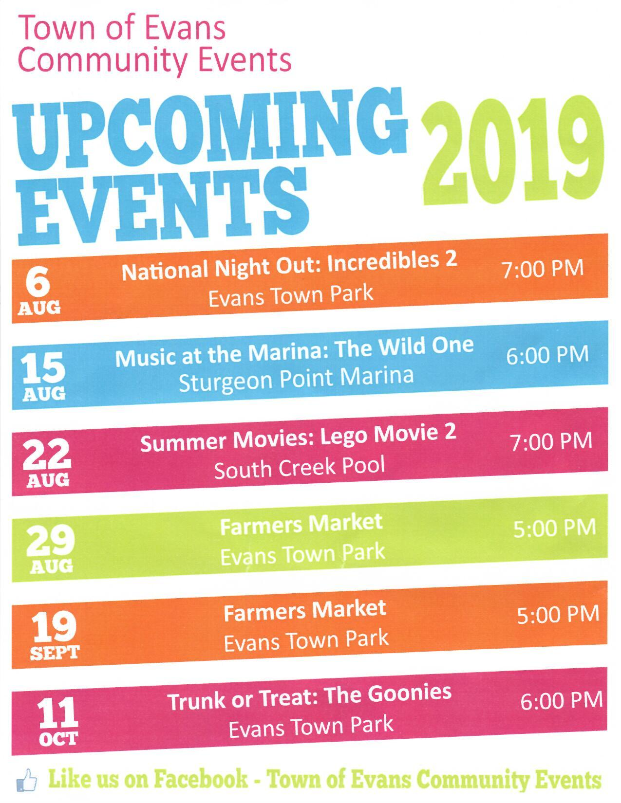 2019 Community Upcoming Events