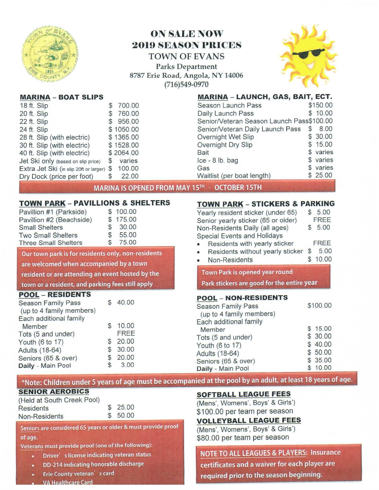 2019 Parks St Pt Marina Pool League Fees