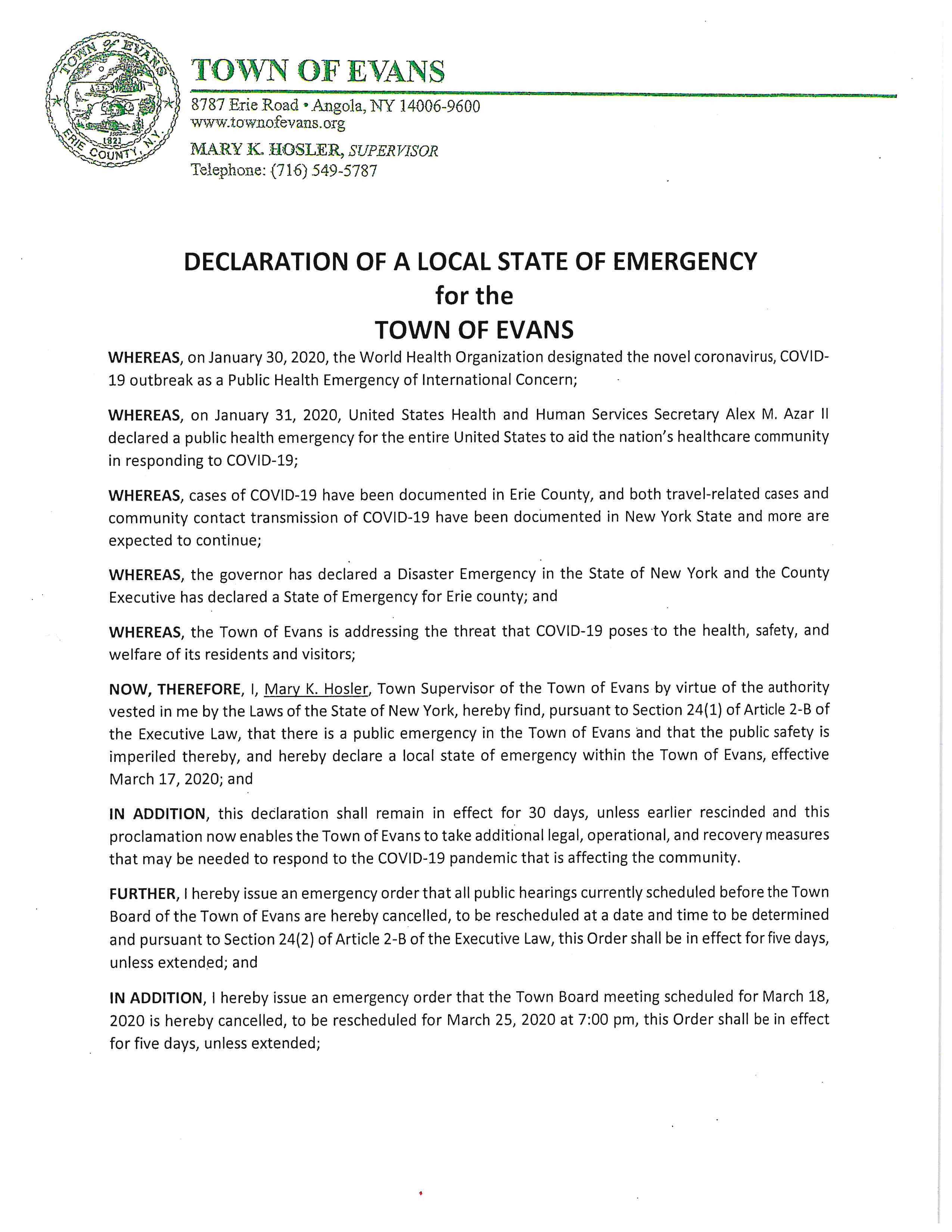 Pandemic State of Emergency Declaration 2020 03 17 pg 1