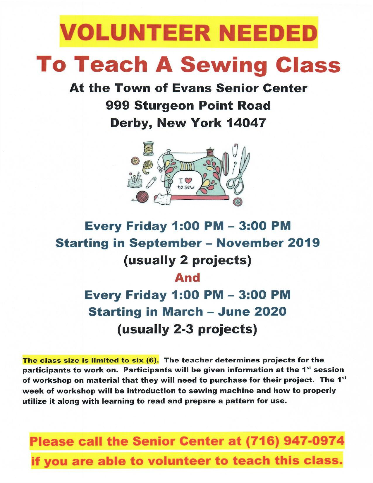 VOLUNTEER NEEDED Fall 2019 Senior Center Sewing